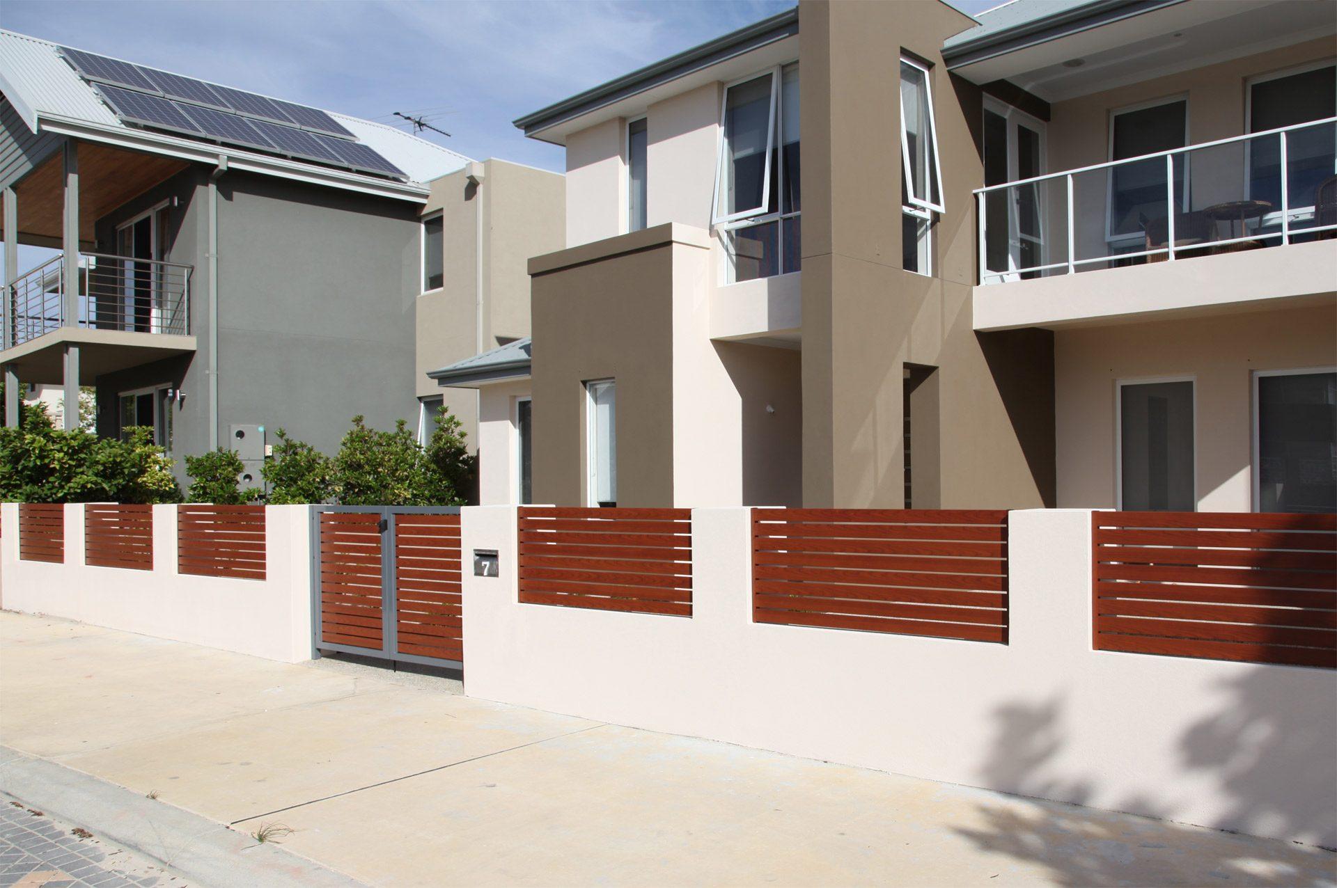 Timber Effect Aluminium Slats look great on Centompory Homes