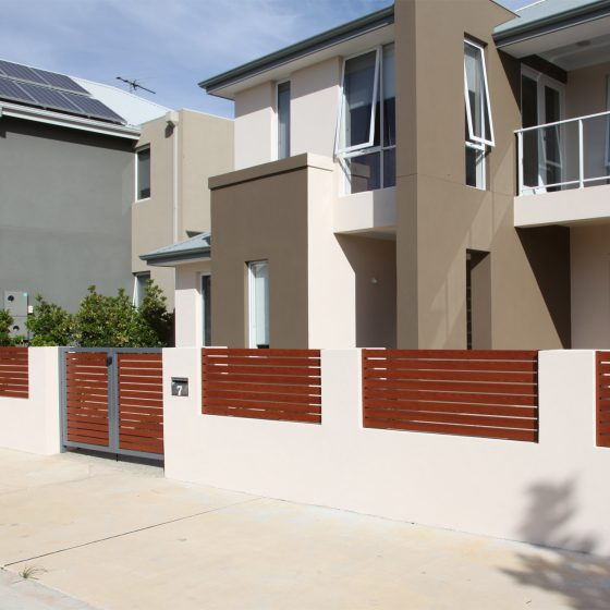 Timber Effect Aluminium Slats look great on Centompory Homes