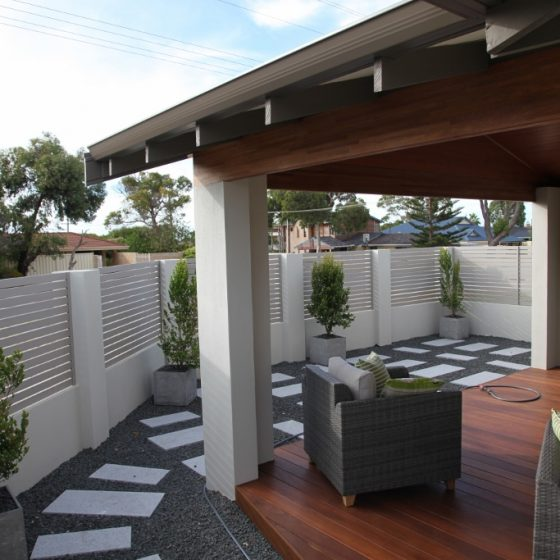 Dune Coloured Slats around Courtyard | Bridgewater Drive