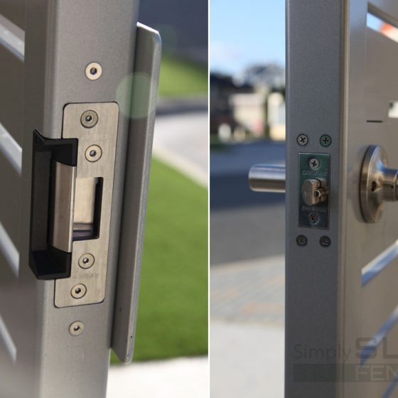 Coloured Slat Gate - Lock Detail