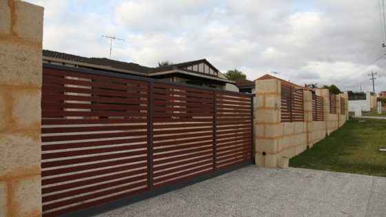 Cedar Timber Effect Slats Sliding Gate and Slats | Waterford Drive